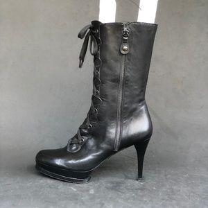 STUART WEITZMAN lace up calf skin half boots
